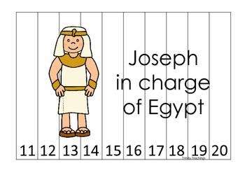 Joseph themed 11-20 Sequence Puzzle printable game. Presch