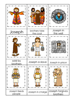 Joseph themed 3 Part Matching printable game. Preschool Bible Study Curriculum.