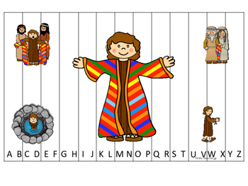 Joseph themed A-Z Sequence Puzzle printable game. Preschool Bible Study Curricul