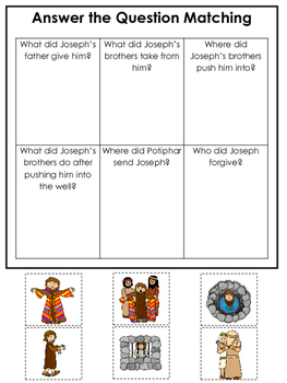 Joseph themed Answer the Question printable game. Preschool Bible Study Curricul