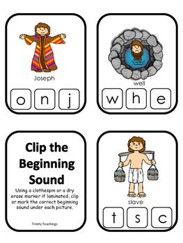 Joseph themed Beginning Sounds Clip It printable game. Preschool Bible Study Cur