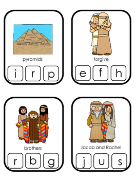 Joseph themed Beginning Sounds Clip It printable game. Preschool Bible Study Cur