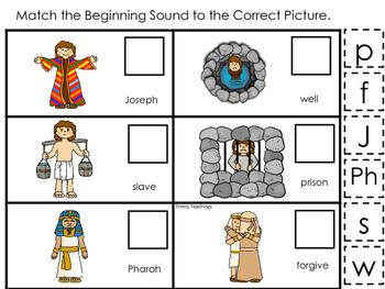 Joseph themed Match the Beginning Sound printable game. Preschool Bible Study Cu