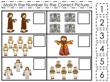 Joseph themed Match the Number printable game. Preschool Bible Study Curriculum.