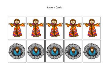 Joseph themed Pattern Cards printable game. Preschool Bible Study Cu