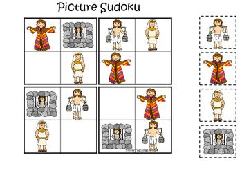 Joseph themed Picture Sudoku printable game. Preschool Bible Study Cu