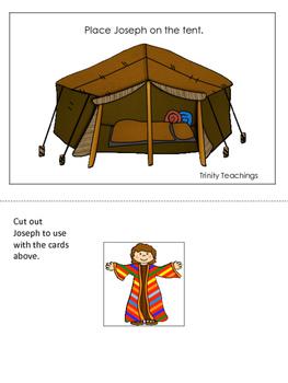 Joseph themed Positional Cards printable game. Preschool B