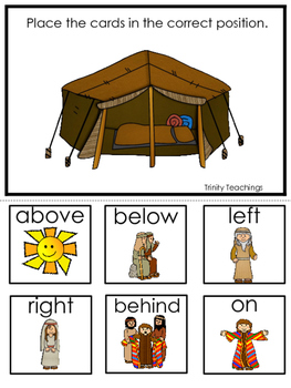 Joseph themed Positional Game printable game. Preschool Bible Study Curriculum.