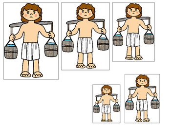 Joseph themed Size Sequence printable game. Preschool Bible Study Cu