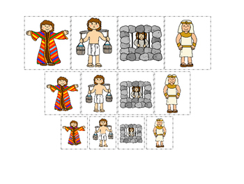Joseph themed Size Sorting printable game. Preschool Bible Study Cu