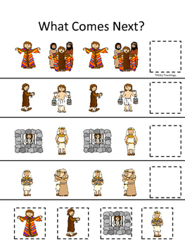 Joseph themed What Comes Next printable game. Preschool Bible Study Cu