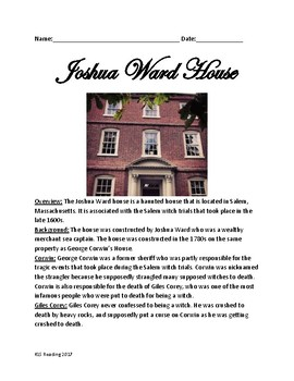Joshua Ward House - Haunted House Salem - lesson history facts questions