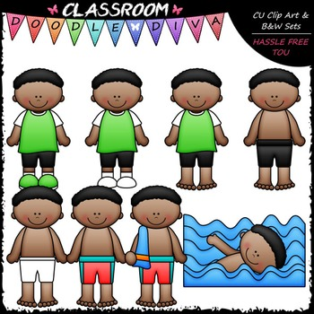 Josiah Gets Dressed For Swimming Clip Art - Sequence Clip Art & B&W Set