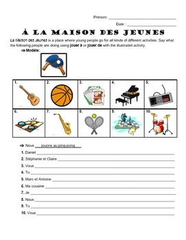 Jouer à or de with sports, games, & instruments - Worksheet