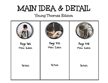 Journey's Young Thomas Edison Main Idea and Detail