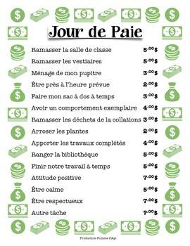 Jour de Paie - Responsabilités en classes, en français