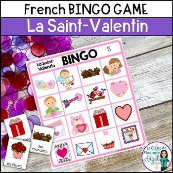 La Saint Valentin:  Valentine's Day Bingo Game in French