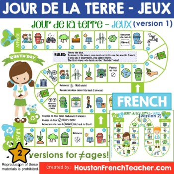 Jour de la Terre French Earth Day Activities Board Game(Game & Word Mat)
