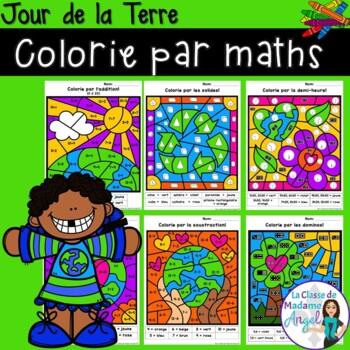 Jour de la Terre:  Earth Day Themed Color by Code Math Act