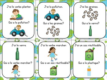 Jour de la Terre:  Earth Day Themed Vocabulary Game in French - J'ai...Qui a...?