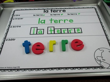 Jour de la Terre:  Earth Day Themed Word Work Activity Mats in French