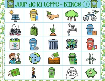 Jour de la Terre French Earth Day Bingo (30 Cards & Word Mat)