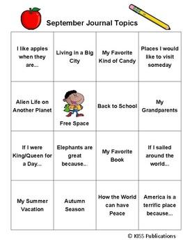 Journal Bingo Primary Level