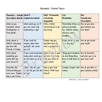 Journal Calendar 3 winter months upper grades
