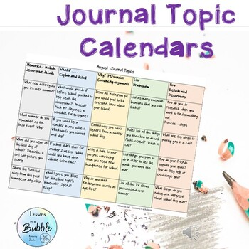 Journal Calendar of Topics Middle and Upper grades