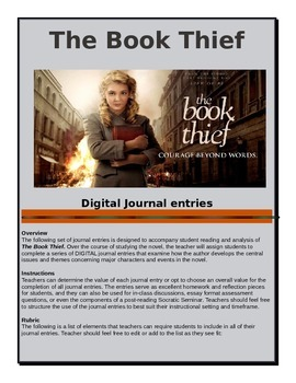 The Book Thief - Digital Journal Entries - Common Core Aligned
