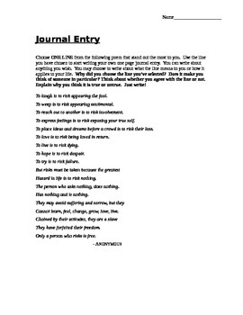 Journal Entry - Poetry Response