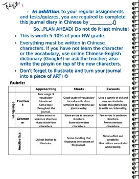 Journal Entry Template for Chinese