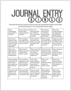 Journal Entry or Quick Write Bingo