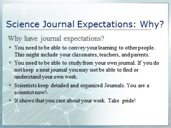 Journal Expectations Science Classes