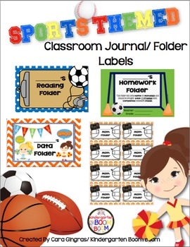 Journal/Folder Labels - Sports Themed