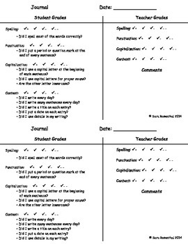 Writing Journal Grading Sheet