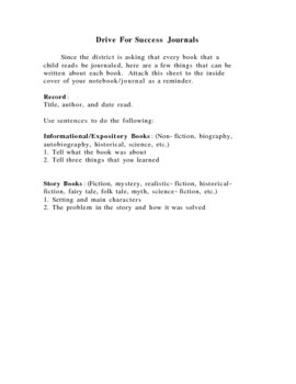 Journal Guide for Fiction and Non-fiction Reading