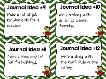Writing Journal Idea Task Cards for Every Month