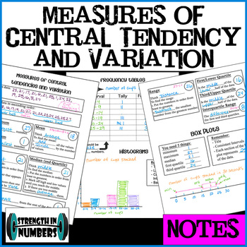 Interactive Notebook NOTES: Mean Median Mode Range Quartiles Box Plot Histogram