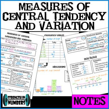 Interactive Notebook NOTES: Mean Median Mode Range Quartiles Box Plot Histogram