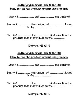 Journal Notes Multiplying Decimals