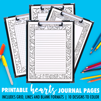 Journal Pages | Hearts Series | 10 Pack