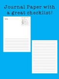 Journal Writing Paper with Checklist