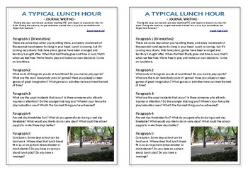 Journal Plan - A Typical Lunch Hour