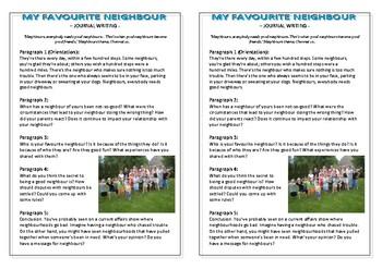 Journal Plan - My Favourite Neighbour