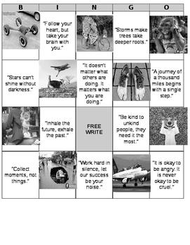Journal Prompt Bingo Board