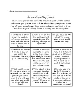 Journal Prompt Chart