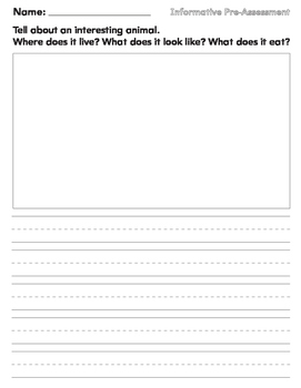 Journal Prompt for Informative Writing Pre Assessment First Grade Lucy Calkins