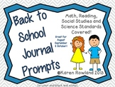 Back to School Journal Prompts - Math, Reading, Social Stu