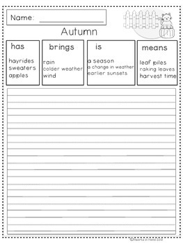 Journal Prompts Autumn For Primary (K-3)